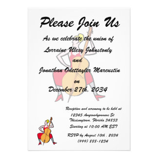 Orchestra bass player blonde female red dress.png personalized announcements