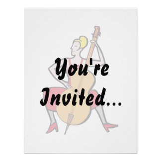 Orchestra bass player blonde female red dress png custom announcement