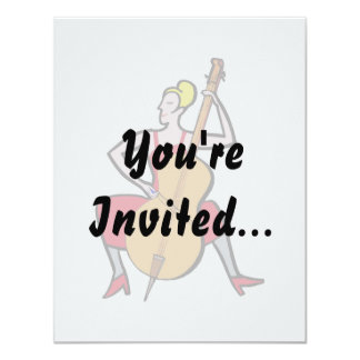 "Orchestra bass player blonde female red dress.png 4.25"" x 5.5"" invitation card"