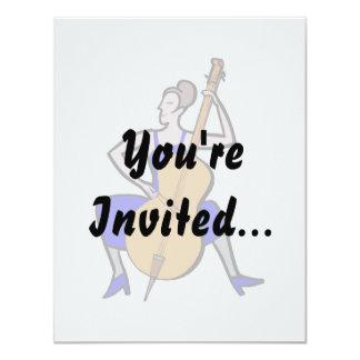 Orchestra bass player female blue dress 11 cm x 14 cm invitation card