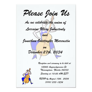 Orchestra bass player female blue dress 13 cm x 18 cm invitation card