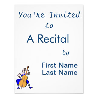 Orchestra bass player female blue dress personalized invitation