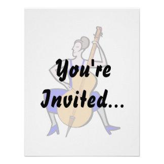 Orchestra bass player female blue dress custom invitation