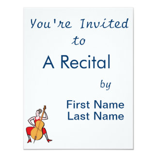 Orchestra bass player female red dress.png 11 cm x 14 cm invitation card