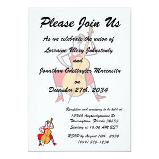 Orchestra bass player female red dress.png 13 cm x 18 cm invitation card