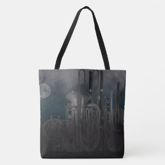 Orchestra Instruments Nighttime Moonlit Skyline Tote Bag