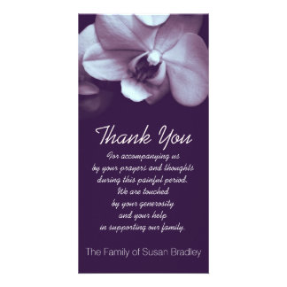 Orchid -3- Sympathy Thank you Photo Card