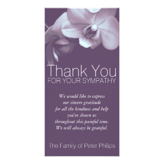 Orchid -4b- Sympathy Thank you Photo Card