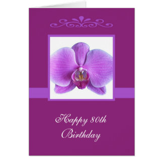 Orchid 80th Birthday Card