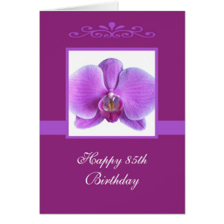 Orchid 85th Birthday Card