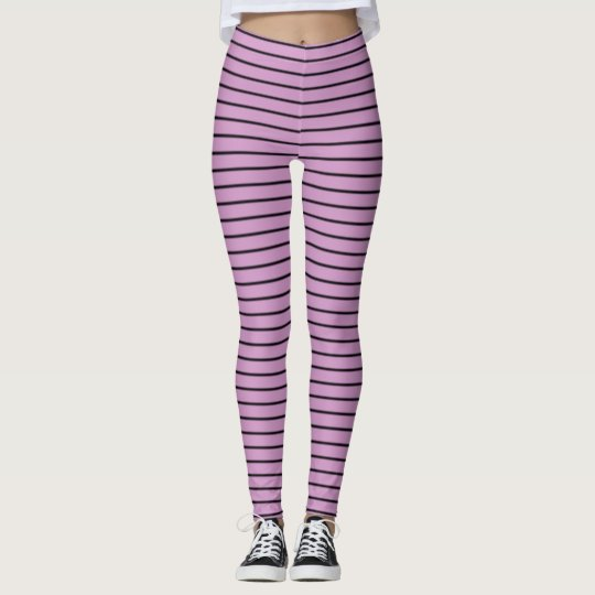 Orchid and Black Stripes Leggings