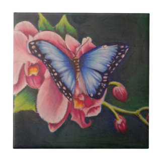 orchid and butterfly small square tile