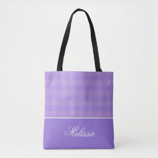 Orchid and Lavender Gingham | Personalized Tote Bag