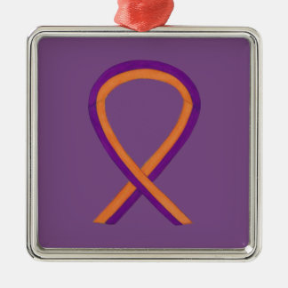 Orchid and Orange Awareness Ribbon Custom Ornament