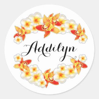 Orchid and Plumeria Flowers, Elegant Classic Round Sticker
