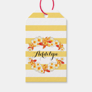 Orchid and Plumeria Flowers, Elegant Gift Tags