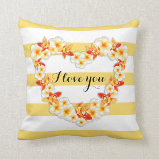 Orchid and Plumeria Flowers, Elegant I Love You Cushion