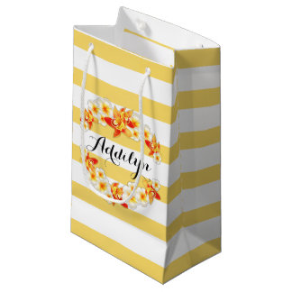 Orchid and Plumeria Flowers, Elegant Small Gift Bag