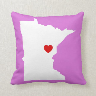 Orchid and White Minnesota with Red Heart Cushion