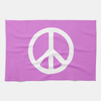 Orchid and White Peace Symbol Tea Towel