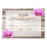Orchid Barn Wood Wedding RSVP Response Card 9 Cm X 13 Cm Invitation Card