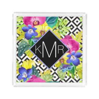 Orchid Begonia And Palm Leaves | Monogram Acrylic Tray