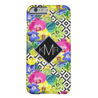 Orchid Begonia And Palm Leaves | Monogram Barely There iPhone 6 Case