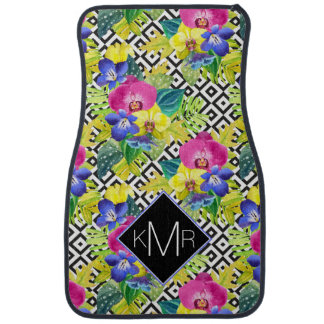 Orchid Begonia And Palm Leaves | Monogram Car Mat
