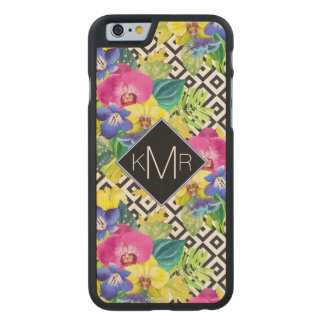 Orchid Begonia And Palm Leaves | Monogram Carved® Maple iPhone 6 Slim Case