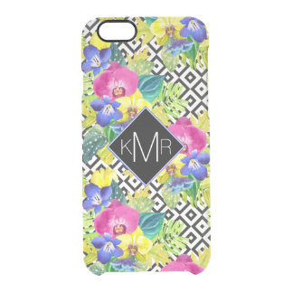 Orchid Begonia And Palm Leaves | Monogram Clear iPhone 6/6S Case