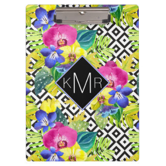 Orchid Begonia And Palm Leaves | Monogram Clipboard