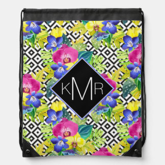 Orchid Begonia And Palm Leaves | Monogram Drawstring Bag