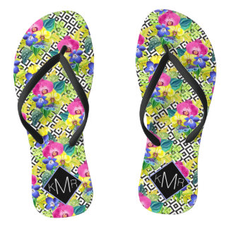 Orchid Begonia And Palm Leaves | Monogram Flip Flops