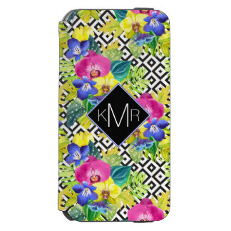 Orchid Begonia And Palm Leaves | Monogram Incipio Watson™ iPhone 6 Wallet Case
