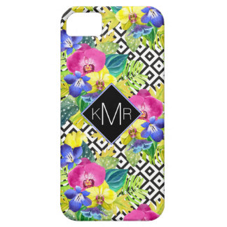 Orchid Begonia And Palm Leaves | Monogram iPhone 5 Case