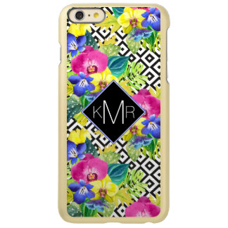 Orchid Begonia And Palm Leaves | Monogram iPhone 6 Plus Case
