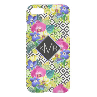 Orchid Begonia And Palm Leaves | Monogram iPhone 8/7 Case
