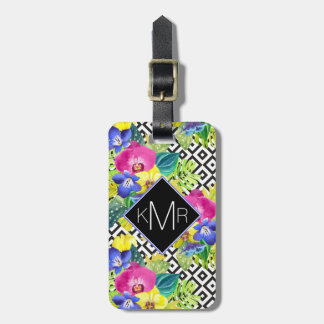 Orchid Begonia And Palm Leaves | Monogram Luggage Tag