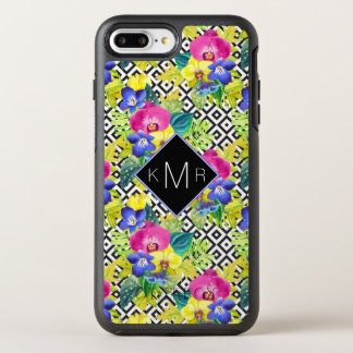 Orchid Begonia And Palm Leaves | Monogram OtterBox Symmetry iPhone 8 Plus/7 Plus Case