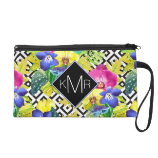 Orchid Begonia And Palm Leaves | Monogram Wristlet Clutches