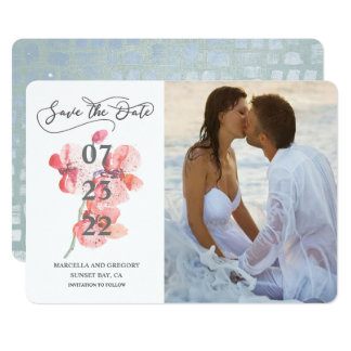 Orchid Blossom Beach Wedding Photo Save The Date Card