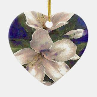 Orchid Ceramic Heart Decoration