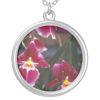 Orchid Design Round Silver Necklace
