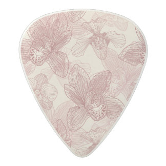 Orchid Engraving Pattern On Beige Background Acetal Guitar Pick