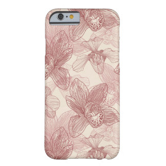 Orchid Engraving Pattern On Beige Background Barely There iPhone 6 Case