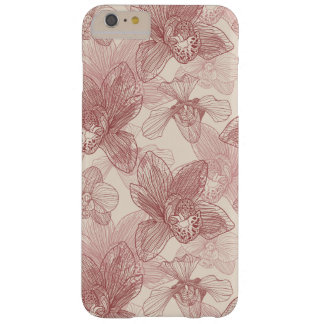 Orchid Engraving Pattern On Beige Background Barely There iPhone 6 Plus Case