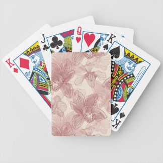 Orchid Engraving Pattern On Beige Background Bicycle Playing Cards