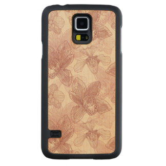 Orchid Engraving Pattern On Beige Background Carved Maple Galaxy S5 Case