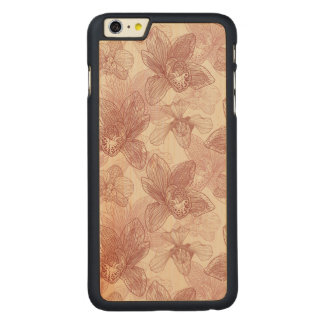 Orchid Engraving Pattern On Beige Background Carved Maple iPhone 6 Plus Case