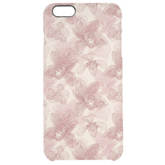 Orchid Engraving Pattern On Beige Background Clear iPhone 6 Plus Case